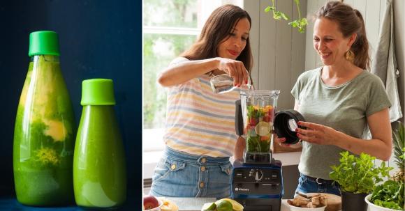 Svenja und Carla trinken Grüne Smoothies als gesundes Frühstück