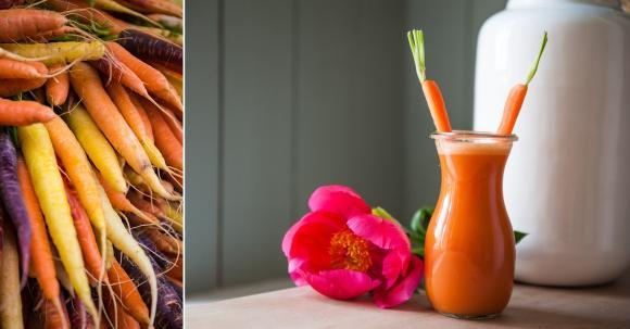 Karottensaft - gesund und gut für Haut und Haar.