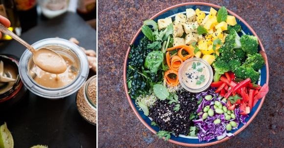 Buddha Bowl Rezept mit Schwarzem Reis, Edamame, Brokkoli und Miso-Dressing